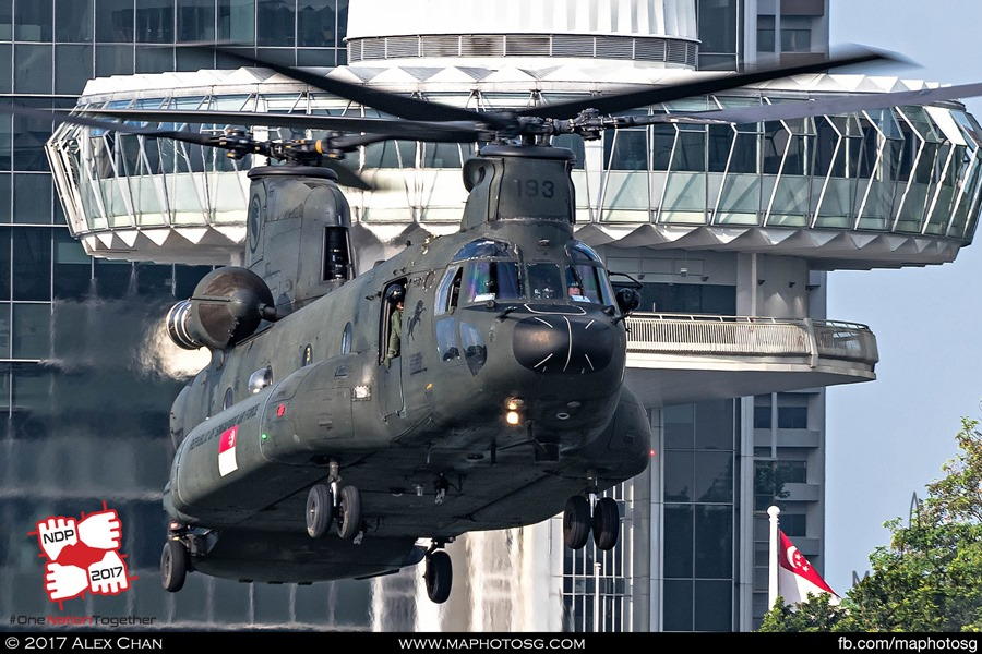 RSAF CH-47D Chinook hovering towards water surface during NDP 2017 rehersal