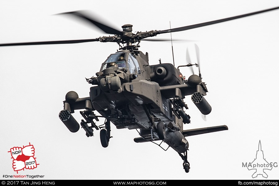 RSAF NDP 2017: Upgraded RSAF AH-64D Longbow Apache – Notice the blisters on the wings