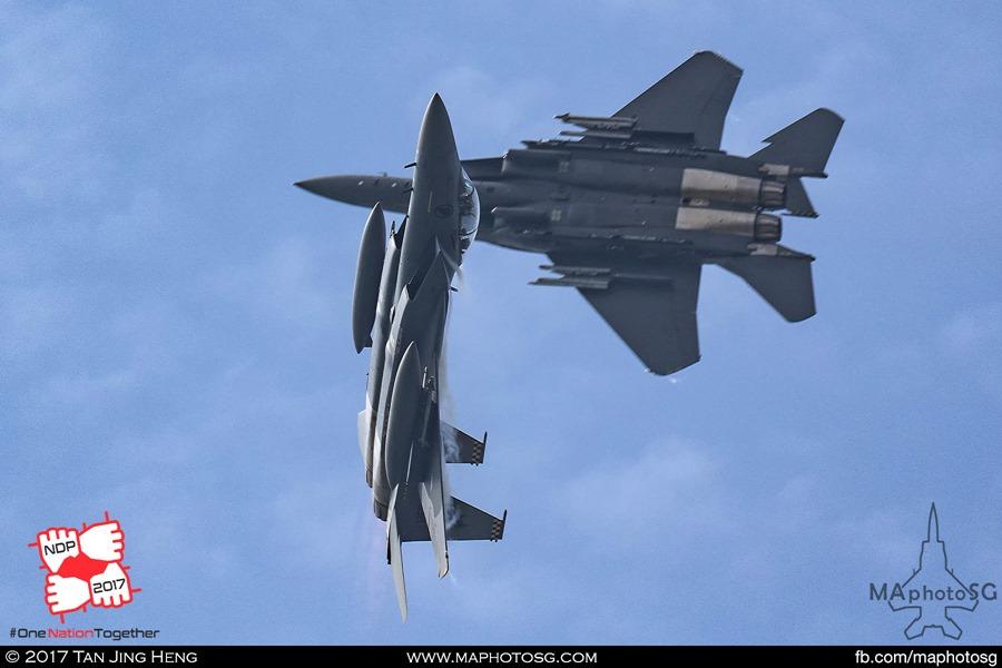 RSAF F-15SG Strike Eagles Cross Over during NDP 2017 rehearsal on 6 June 2017