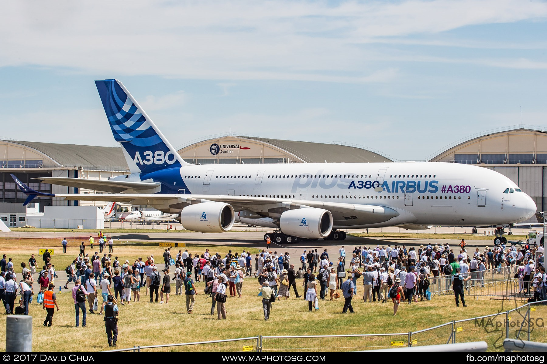 1. Airbus unveiled a new version of its super jumbo A380 with a host of upgrades. The A380plus is an efficient way to offer even better economics and improved operational performance at the same time. Here, the crowd gathers as the A380plus is being towed from the Static Display Area.