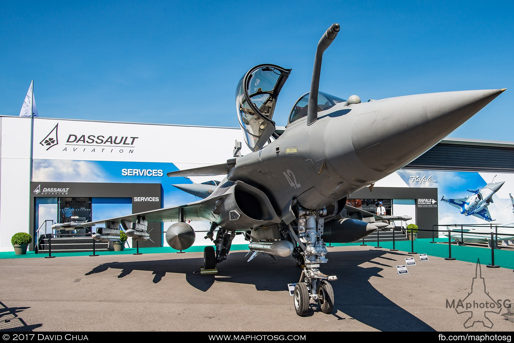 11. Static Display of the Dassault Aviation Rafale C fighter loaded with missiles and fuel tanks.