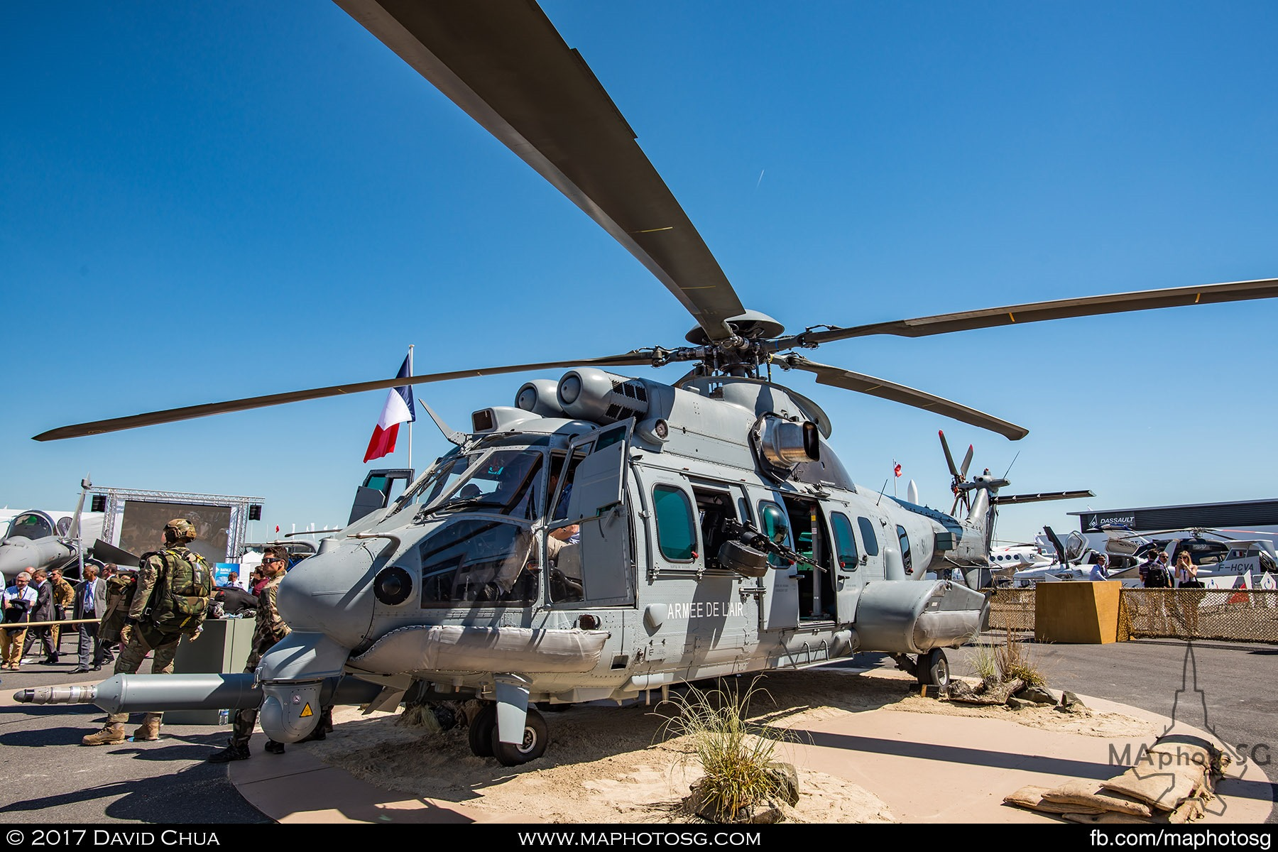 21. French Air Force H225M Caracal Medium Lift Helicopter with air to air refuelling probe.