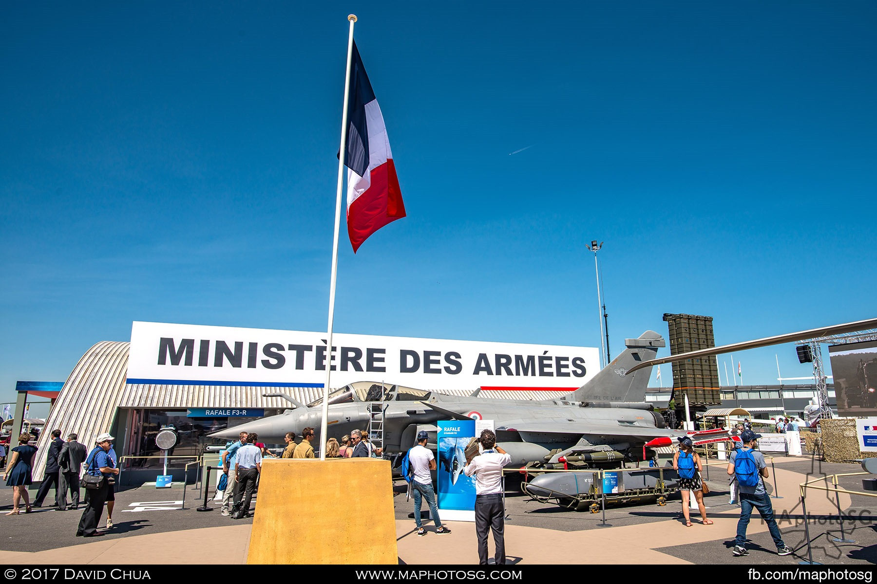 18. French Ministry of Defence static display area hosts a number of platforms and their crew for visitors to interact with and have pictures taken.