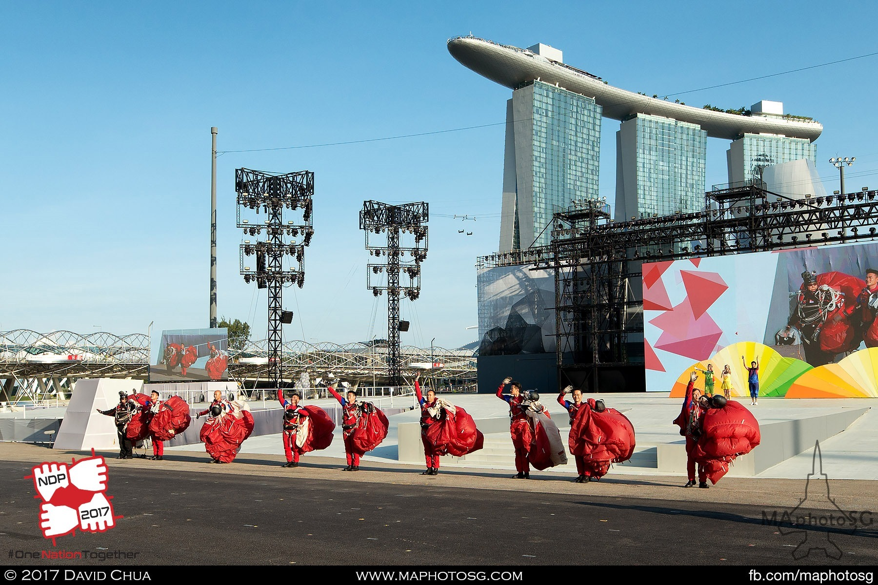 2. Members of the Red Lions team waves to the crowd after they have landed on the Floating Platform.