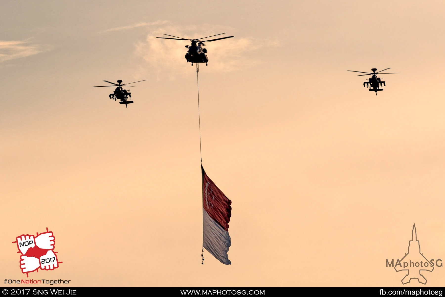 19. RSAF CH-47D Chinook escorted by 2 AH-64D Apache Longbows flies the massive state flag as the National Anthem is being sang.