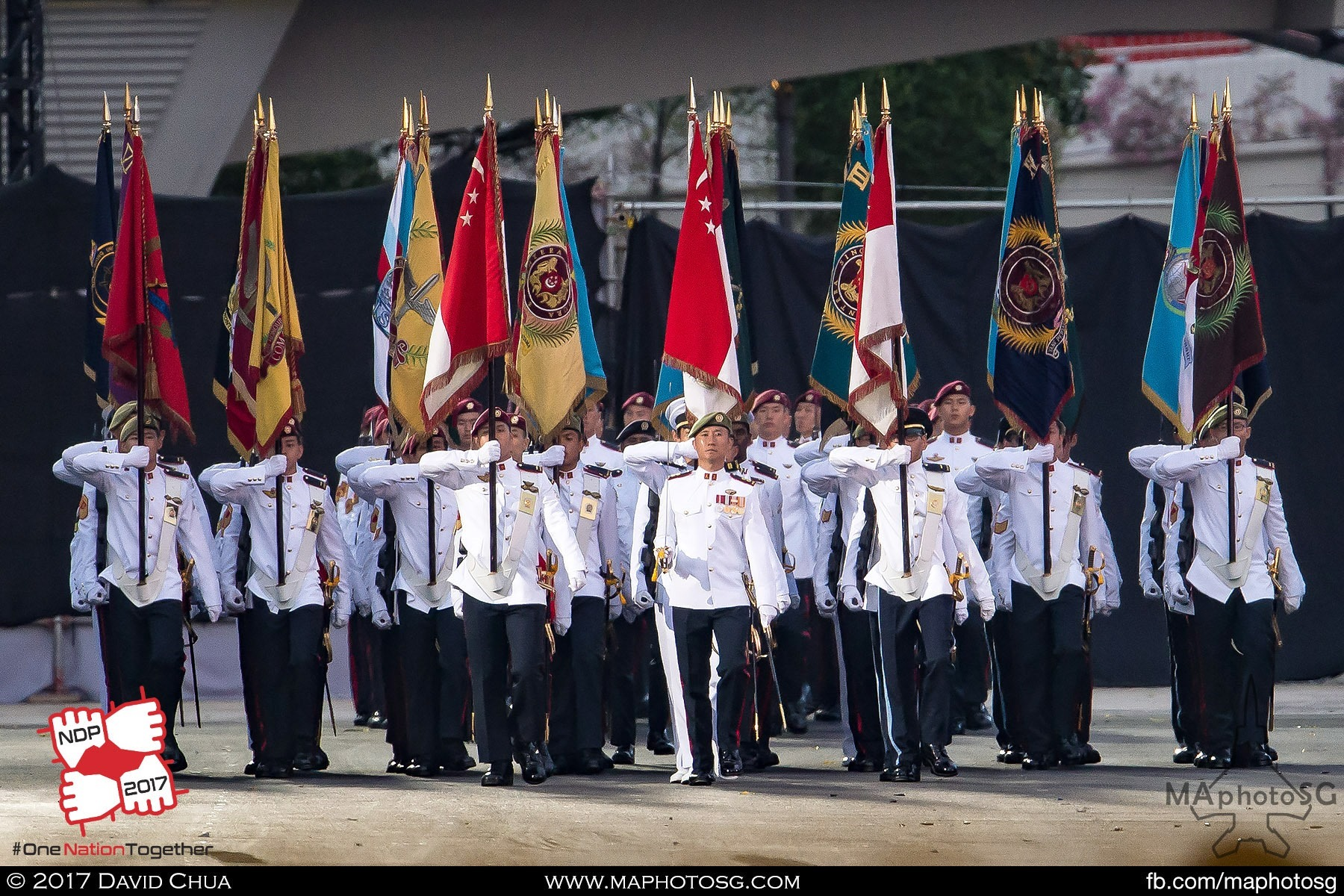 31. Parade Commander LTC (NS) Lim Wee Tee leads the Colours Party and Guard of Honor contingents comprising of the Army, Navy, Air Force and Police