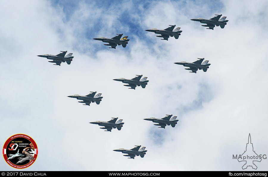 Lead arrow formation of ten F-16s from RSAF 140 and 143 SQN