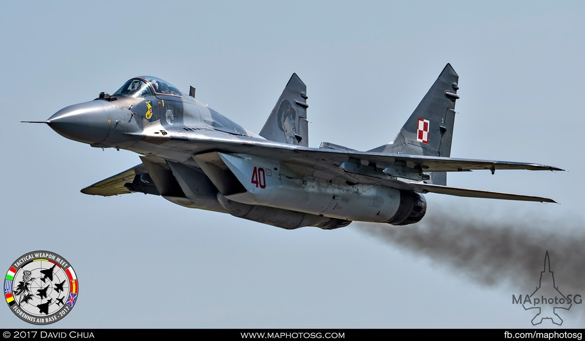 11. Polish Air Force MIG-29 Fulcrum (40) make a low pass over the airfield.