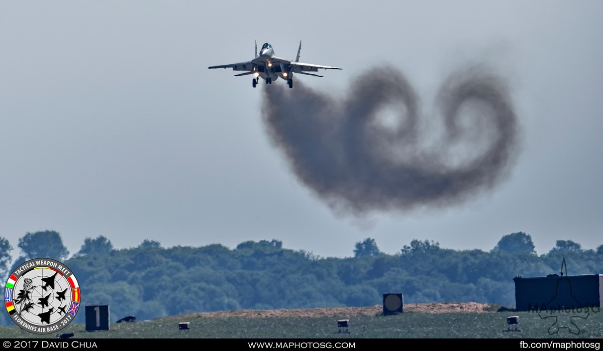 13. Curly exhaust smoke as the Polish Air Force MIG-29 Fulcrum prepares to land.