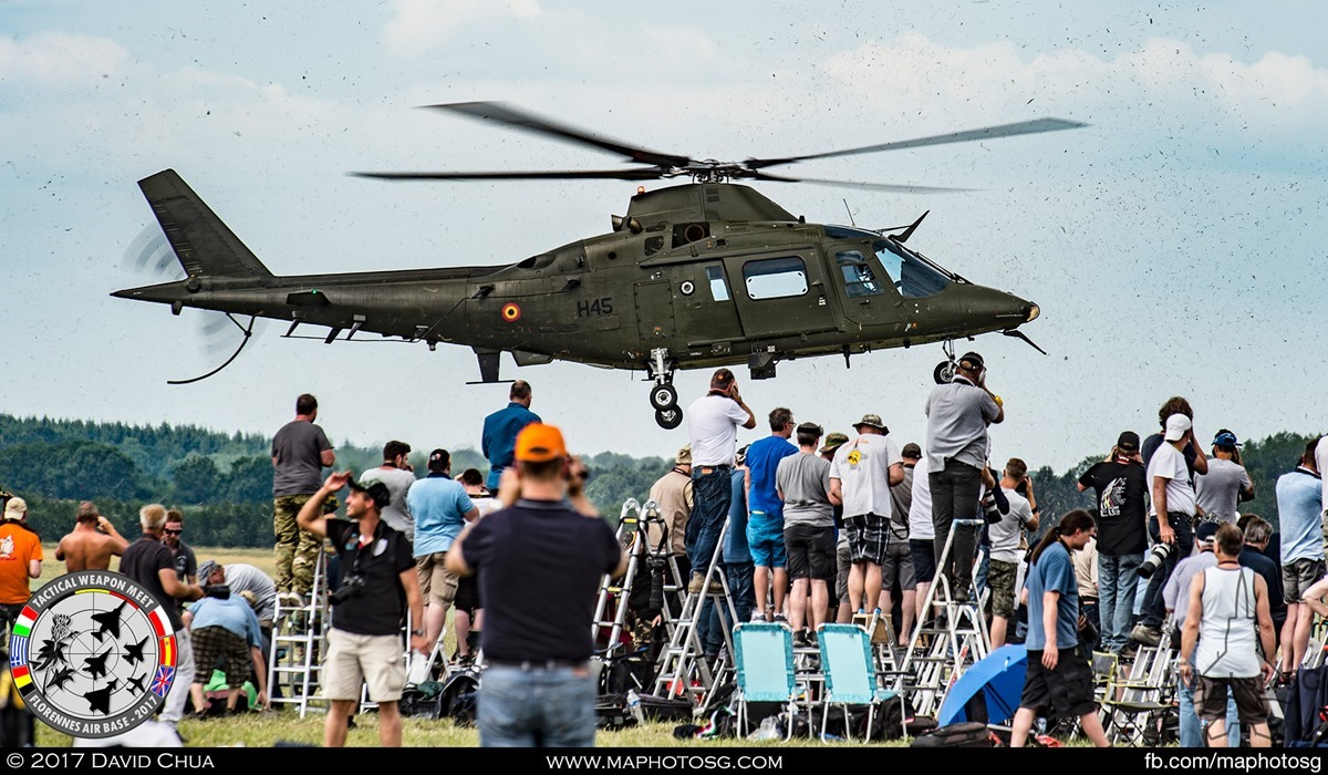 14. Belgian Air Force 17 Squadron Agusta A109BA (H45) make a dramatic exit from the event with a low pass over the crowd.