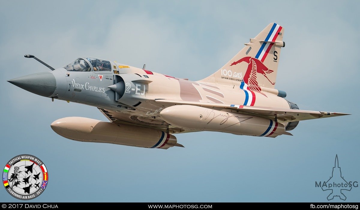 """18. Special Appearance 4 – French Air Force Mirage 2000-5F (2-EJ) from EC 1/2 """"Storks"""" with special livery in honor of Capt George Gutnemer."""