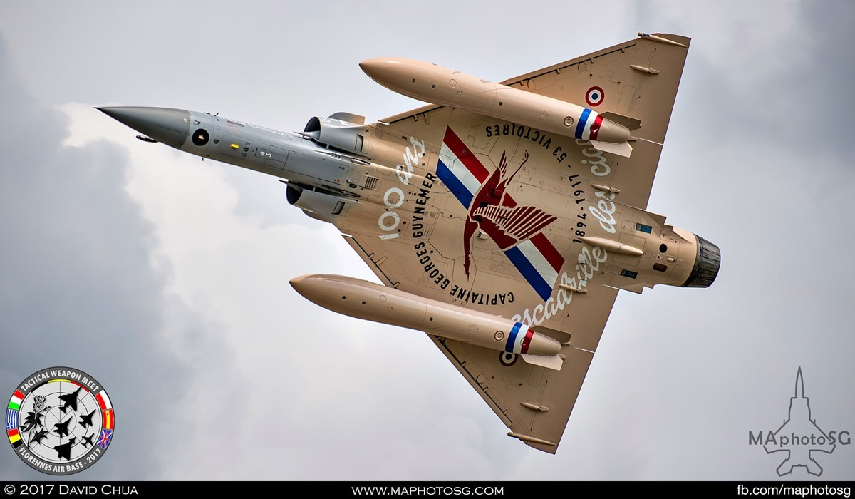 """19. French Air Force Mirage 2000-5F (2-EJ) from EC 1/2 """"Storks"""" with special livery in honor of Capt George Gutnemer which flew with the squadron in 1917."""