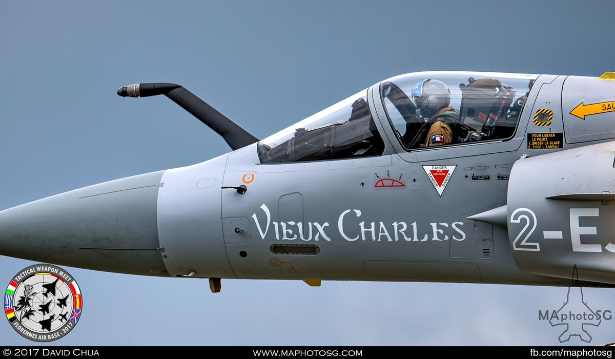 """22. Close up of the French Air Force Mirage 2000-5F (2-EJ) from EC 1/2 """"Storks""""."""