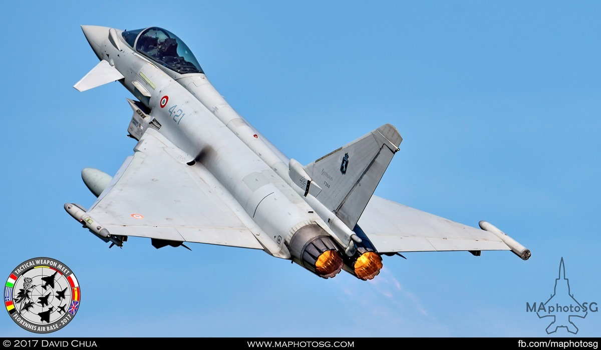 30. Italian Air Force 4° Stormo Eurofighter Typhoon (4-21) takes off with afterburners.