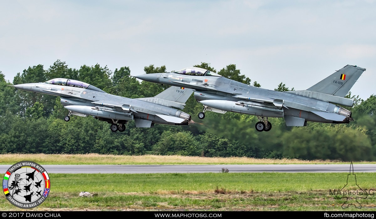 34. Belgian Air Force F-16A/B MLUs (FA-109 and FB-22) takes off together in one of the afternoon sessions.