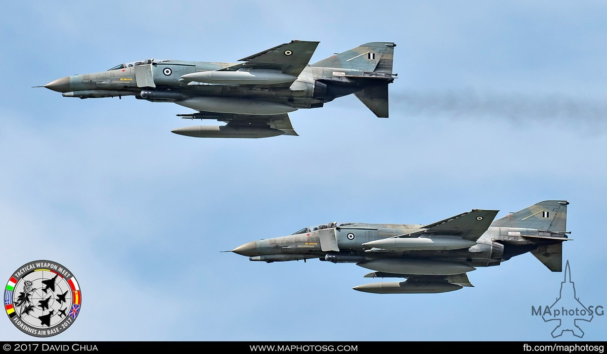 40. The pair of Hellenic Air Force F-4E Phantom IIs (01512 and 01534) from 338 Mira prepares performs a formation fly pass.