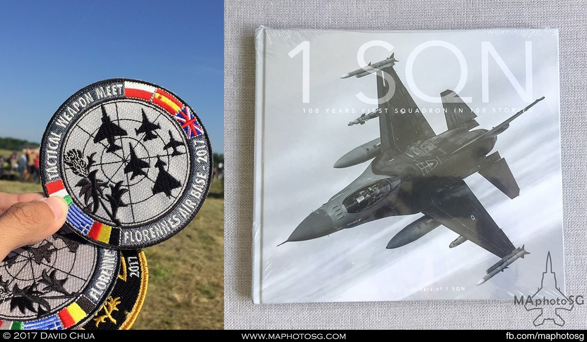 """43. Belgium Air Force 1 Squadron """"Stingers"""" centenary book was given to every visitor to this incredible event. Tactical Weapon Meet patch and many others are available for purchase at the site."""