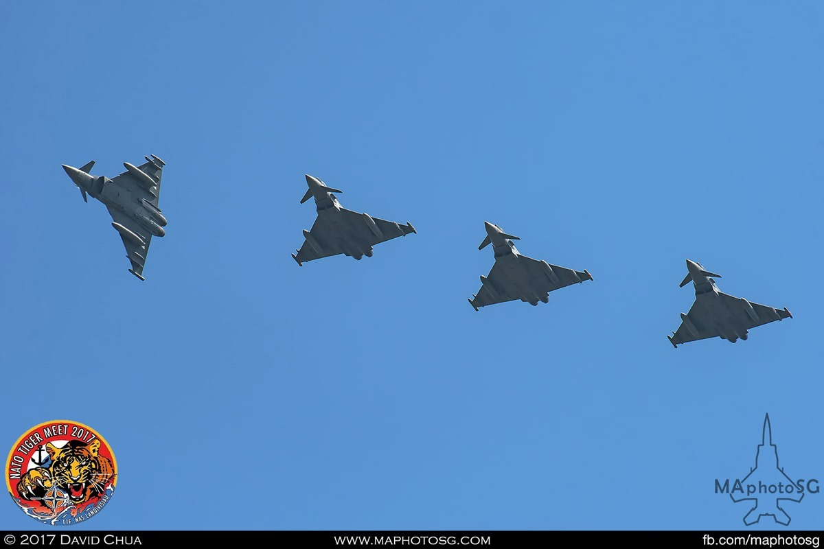 Italian Air Force XII Gruppo  EF-2000 Typhoons breaking formation returning to base.