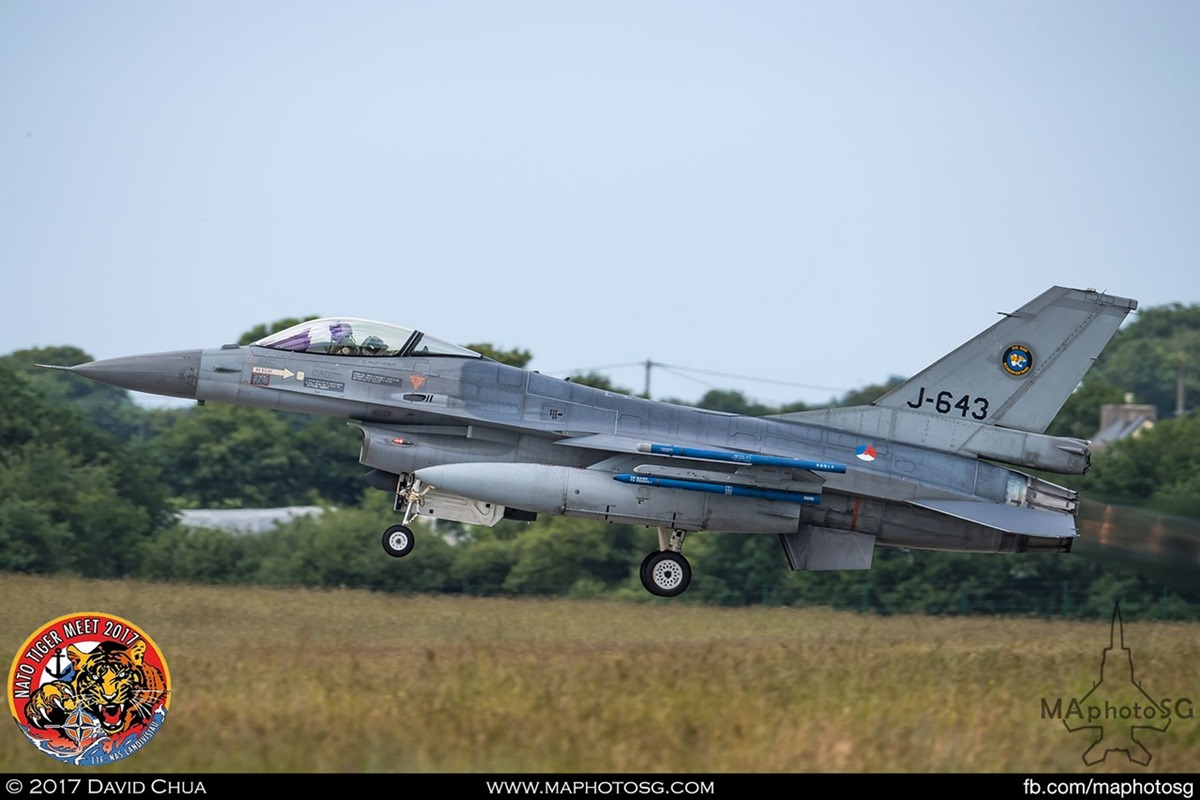 Royal Netherlands Air Force 313 Squadron F-16A MLU Fighting Falcon (J-643)