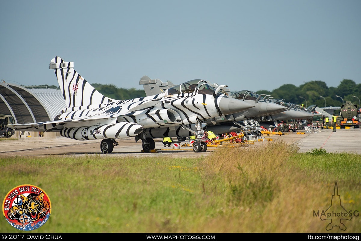 French Navy Flottille 11F Rafale M White Tiger Livery on the ramp as the day ends.