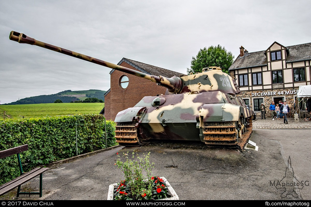 Kampfgruppe Peiper's Tiger II 213 stands guard in front of the December 44 Museum at La Gleize.
