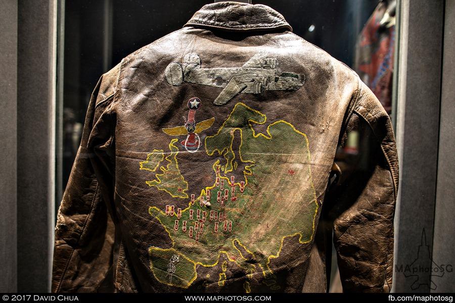 """Bomber Jacket belonging to a waist gunner of an 8th Air Force Liberator B24J """"Dodgin' Don"""""""