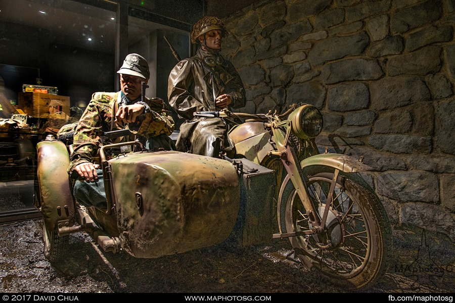 Diorama of German Paratroopers on Motorcycle and Sidecar