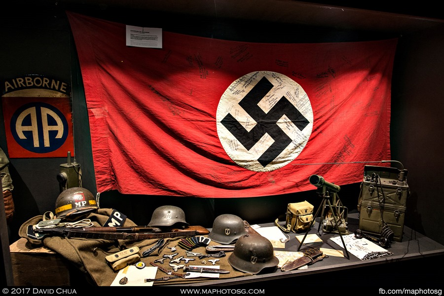 One of the many showcases displaying American and German equipment unearthed in the area