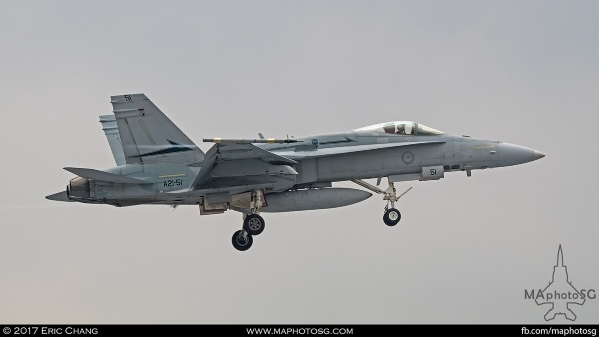 An RAAF F18 returning to PLAB after training