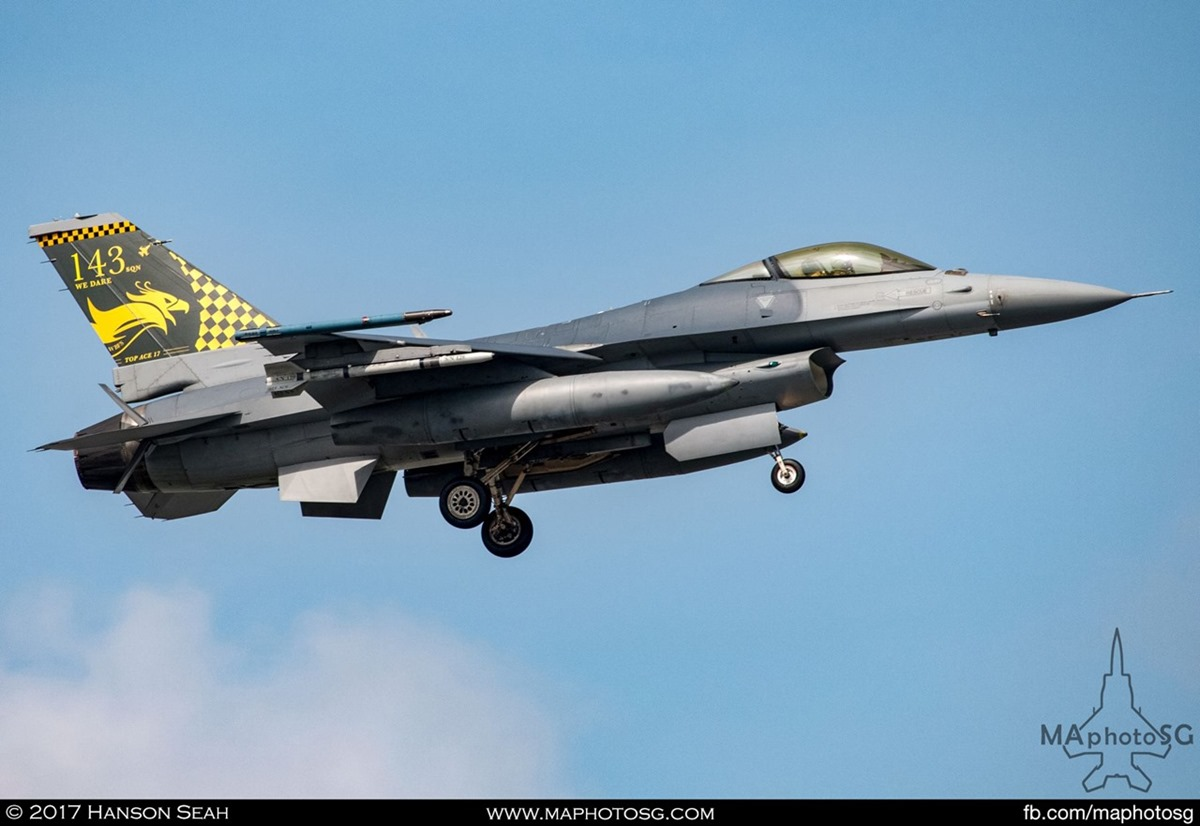 "RSAF F-16C Viper from 143SQN ""Phoenix"" sporting Top Ace challenge tail flash."