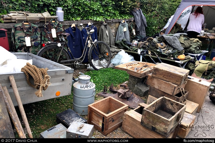 Ammunition boxes, uniforms and even a water canister all for sale