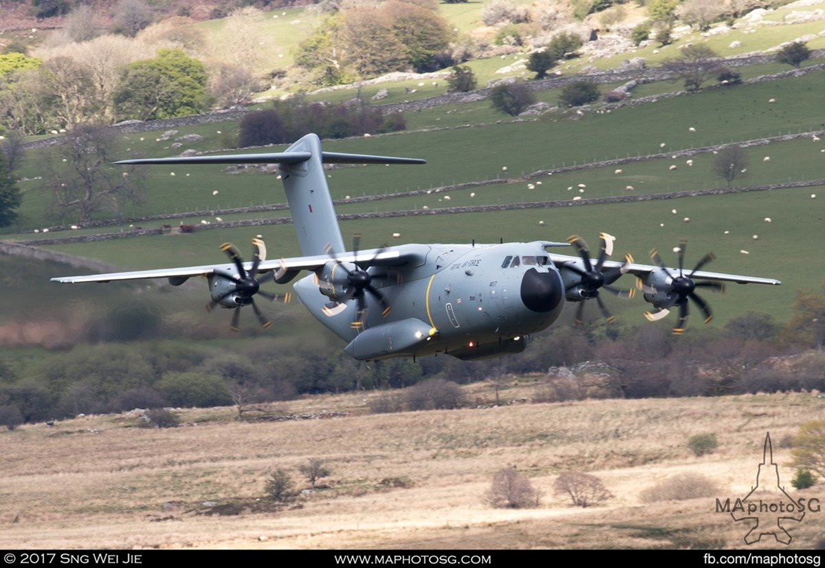 RAF A400M makes a pass in the Mach Loop in Wales