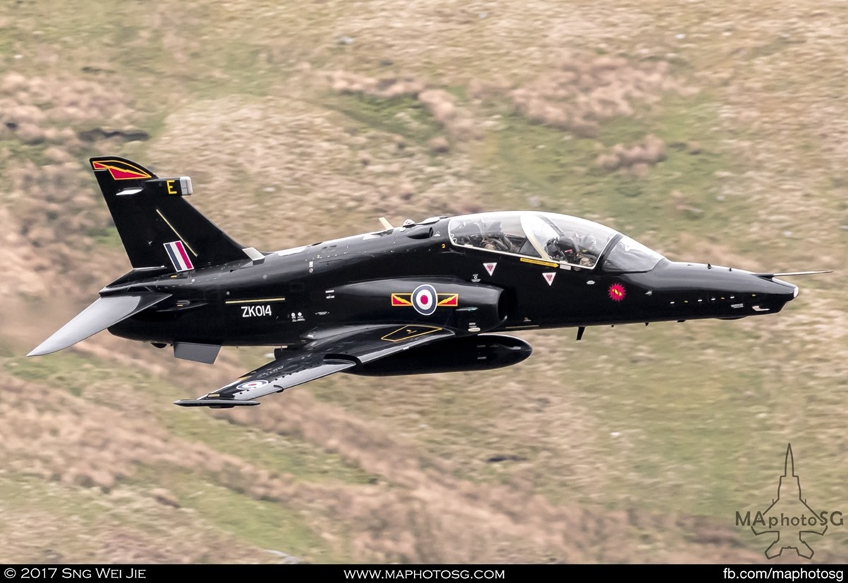 RAF Hawk T.2 in the valley of the Wales low-level training area