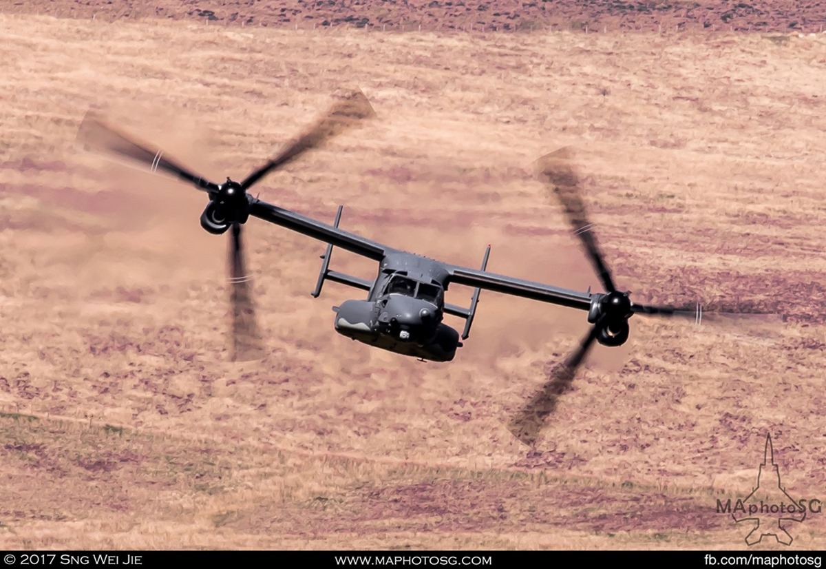 USAF Special Operations CV-22 Osprey enters the valleys in the Loop.