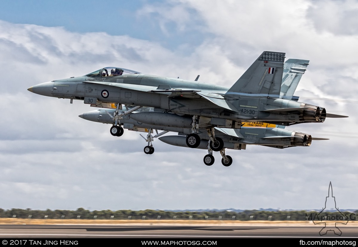 RAAF FA18A/B departs for display at Avalon 2017
