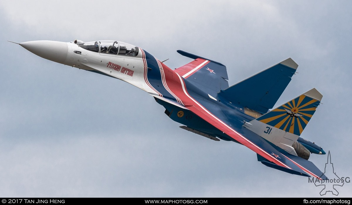 Russian Knights performing for the first time in their new SU-30SM Flanker-C aircraft at LIMA 2017