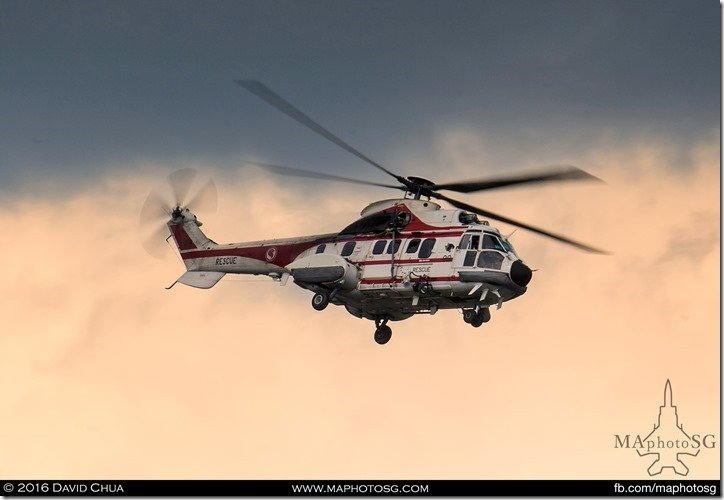 AS332 Super Puma Rescue 10 activated for an emergency onboard a ship late afternoon 9 Aug 2014