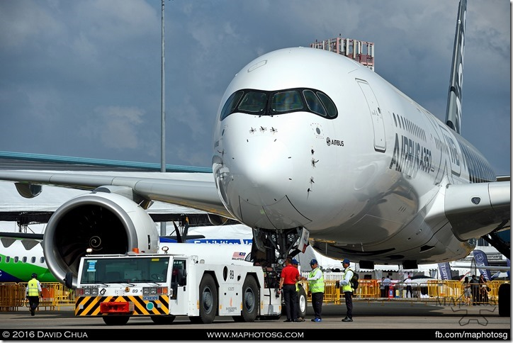 Preparing to tow the A350 out of Static Display