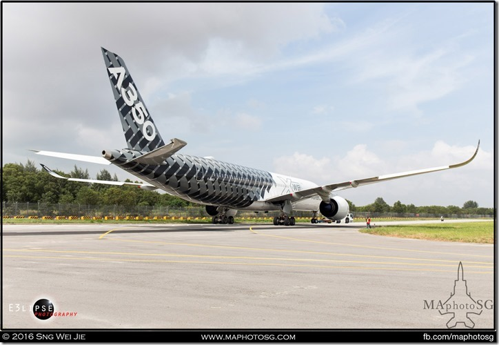 Airbus A350 towed out for aerial display