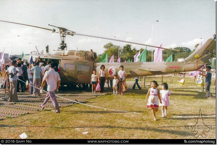 Bell UH-1H Iroquois on static display, SAF Display, West Coast Park, July 1980