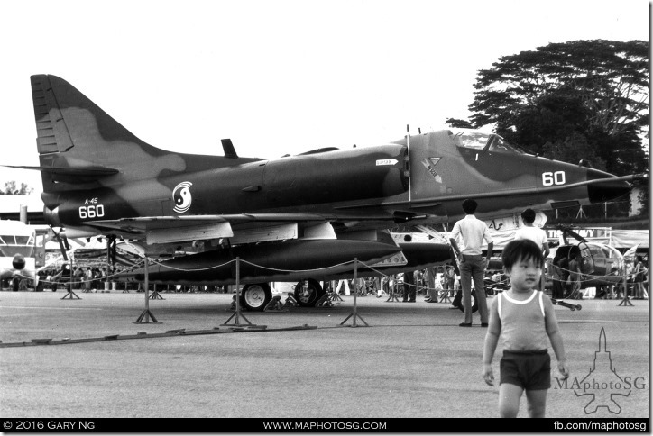 McDonnell Douglas A-4S Skyhawk static display, SAF Display, Changi Air Base, June 1974