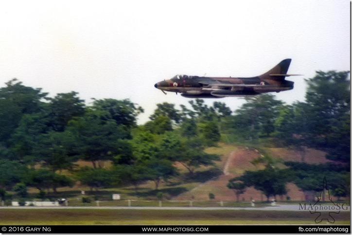 Hawker Hunter FGA.74S performing a low-level flypast, RSAF Open House, Paya Lebar Airbase, June 1986