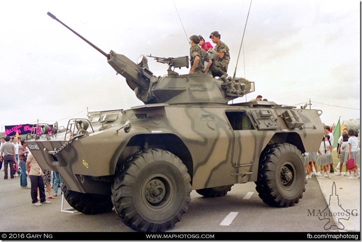 Cadillac Gage V-200 equipped with Oerlikon 20mm and FN MAG 7.62 GPMG turret, SAF Day Show, Sembawang Airbase, June 1988