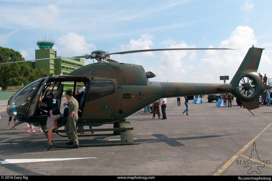 An Eurocopter EC120B Colibri on static display, RSAF Open House, Paya Lebar Airbase, August 2008