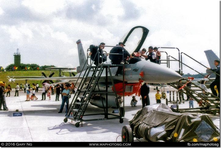General Dynamics F-16A on static display, RSAF Open House, Paya Lebar Airbase, September 1998