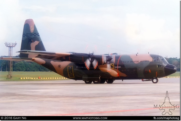 Lockheed C-130H taxiing out for takeoff with SAF Commando freefallers onboard, RSAF Open House, Paya Lebar Airbase, September 1998
