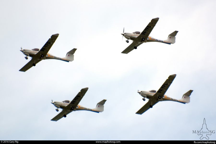 Four Diamond DA40 CS in a box formation flypast, RSAF Open House, Paya Lebar Airbase, May 2011