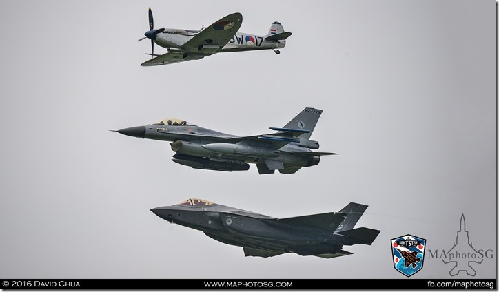 Final pass of a historic formation of Spitfire, F-16AM and F-35A