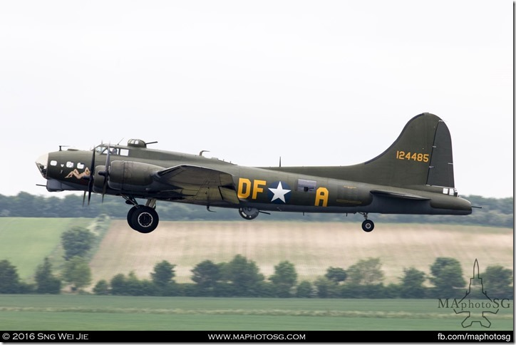 US Army Air Corp Boeing B-17G Sally B departing in preparation for the graceful flight display