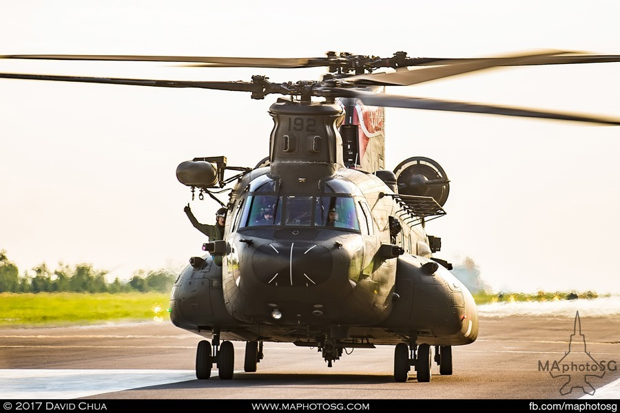 CH-47D Chinook approaches for State Flag pick up